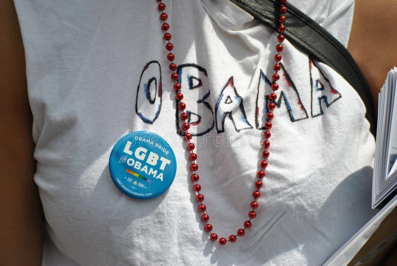 Défenseur d'Obama à la marche homosexuelle de fierté image stock
