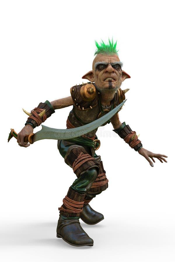 Défenseur de guerrier d'Elf à un arrière-plan blanc illustration de vecteur