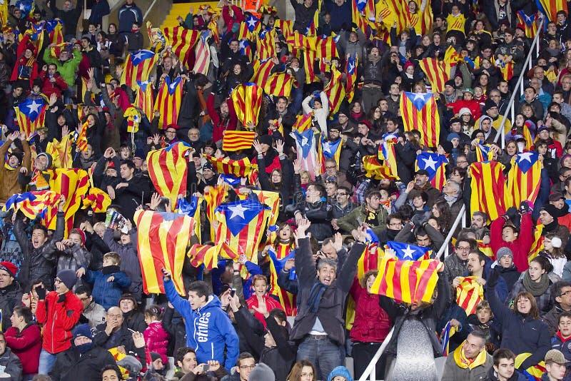 Défenseurs d'équipe nationale de la Catalogne photographie stock libre de droits