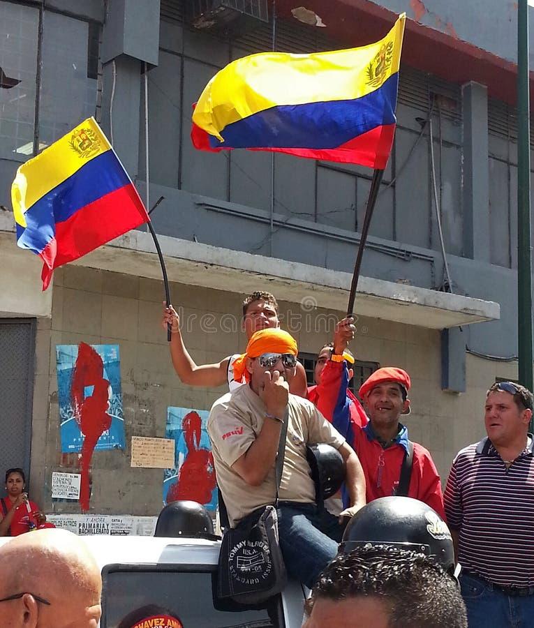 Défenseurs de Hugo Chavez photographie stock libre de droits