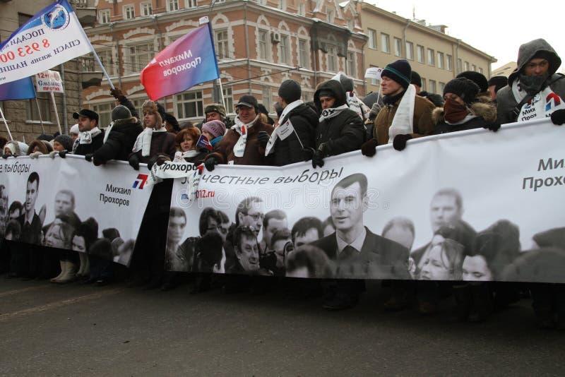 Défenseurs de Mikhail Prokhorov mars pour des élections justes images stock