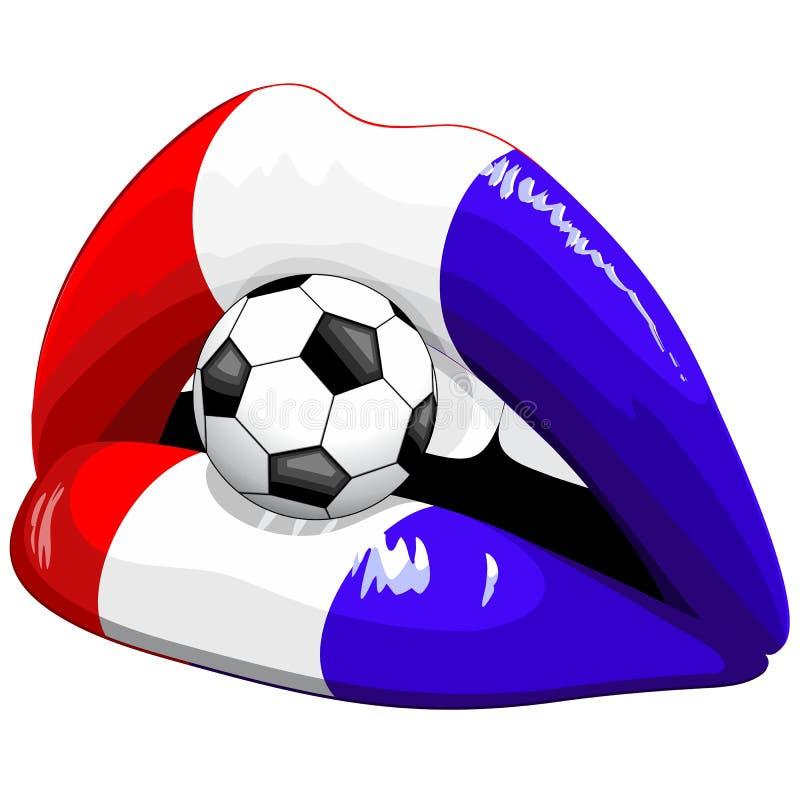 Défenseurs du football de rouge à lèvres de drapeau de Frances illustration libre de droits