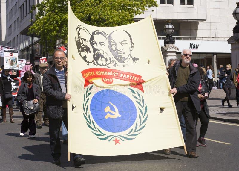 Défenseurs turcs de parti communiste au rassemblement de mayday images stock