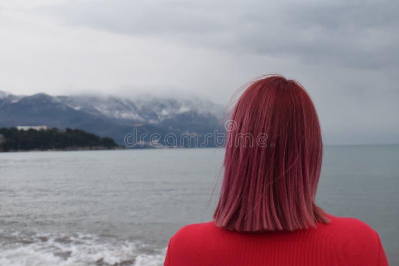 Défi à être la fille rose de cheveux ! photo libre de droits