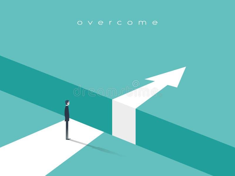 Défi d'affaires ou concept de vecteur d'obstacle avec l'homme d'affaires se tenant au bord de l'espace, abîme avec aller de flèch illustration de vecteur