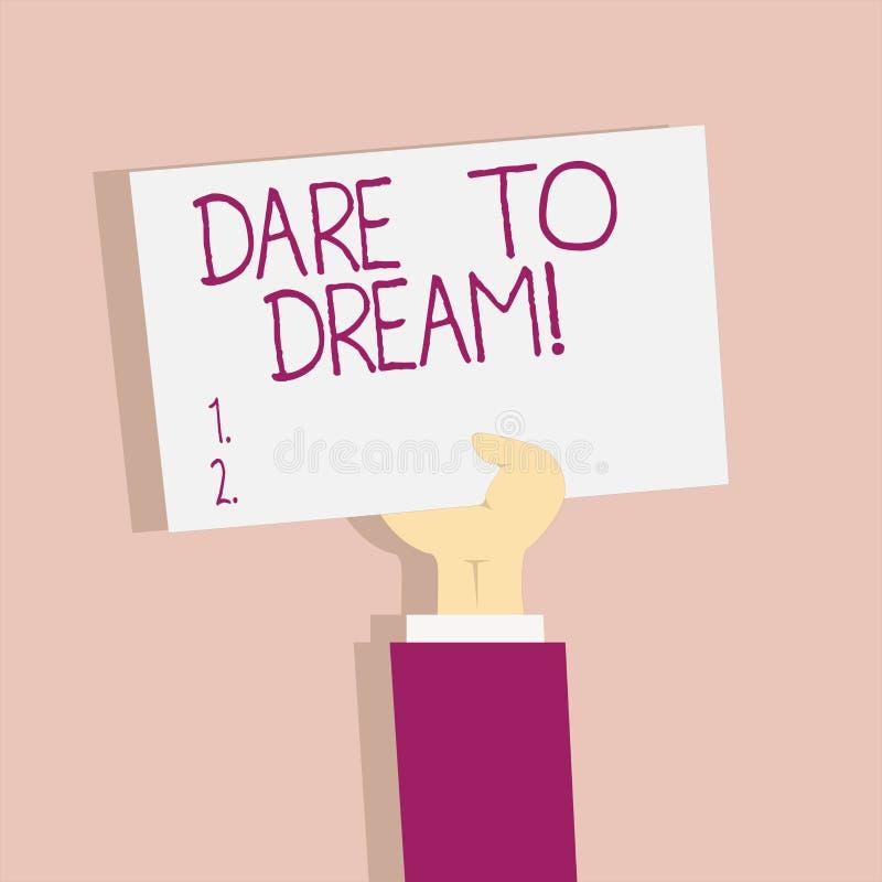 Défi d'apparence de signe des textes à rêver La photo conceptuelle n'ont pas peur de ont de grands objectifs de buts d'ambitions illustration libre de droits