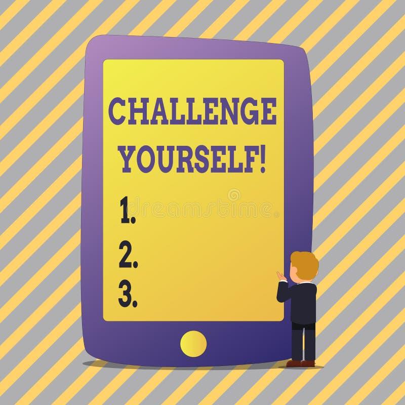 Défi d'apparence de signe des textes vous-même Défi fort d'amélioration d'encouragement de confiance surmonté par photo conceptue illustration stock