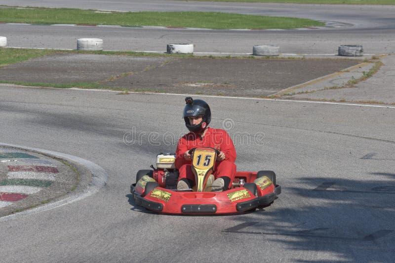 Défi de kart d'Unieuro à la vallée heureuse de Kartodromo en RA de Cervia photos libres de droits