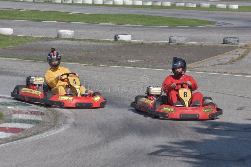 Défi de kart d'Unieuro à la vallée heureuse de Kartodromo en RA de Cervia image libre de droits