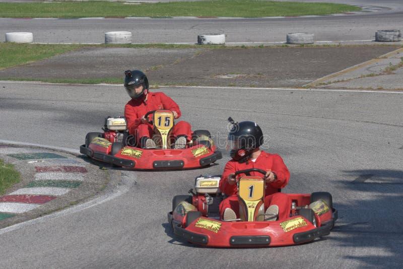 Défi de kart d'Unieuro à la vallée heureuse de Kartodromo en RA de Cervia image stock
