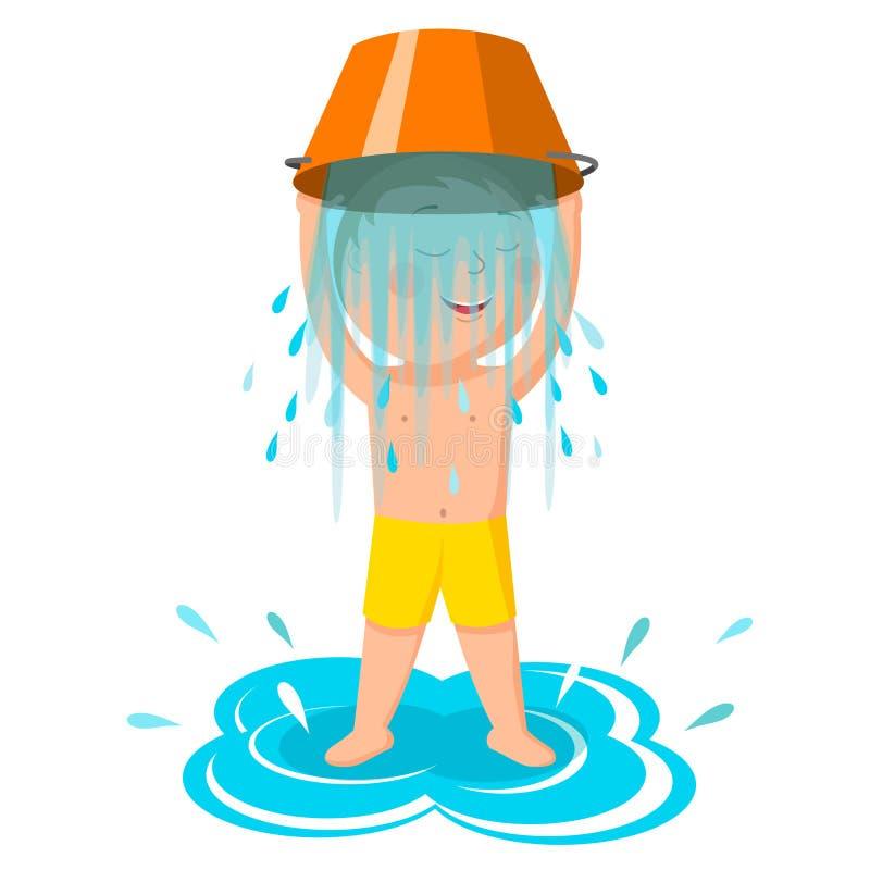 Défi de seau d'eau Le garçon verse l'eau Un style de vie sain illustration libre de droits