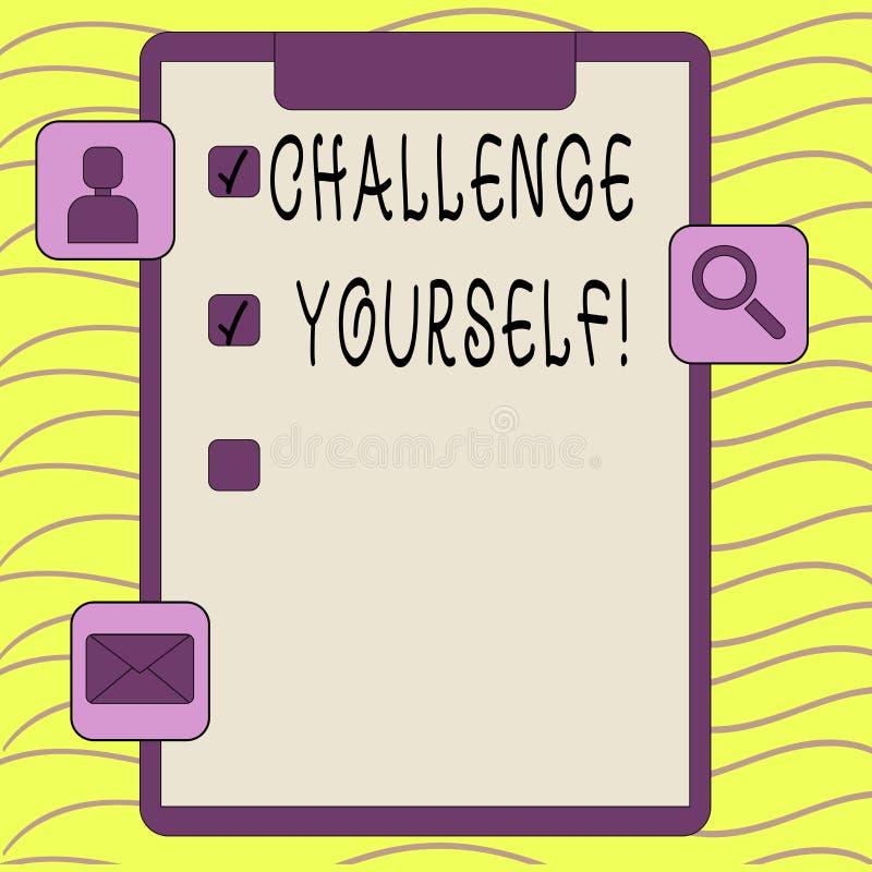 Défi des textes d'écriture de Word vous-même Concept d'affaires pour le défi fort d'amélioration d'encouragement de confiance Ove illustration libre de droits