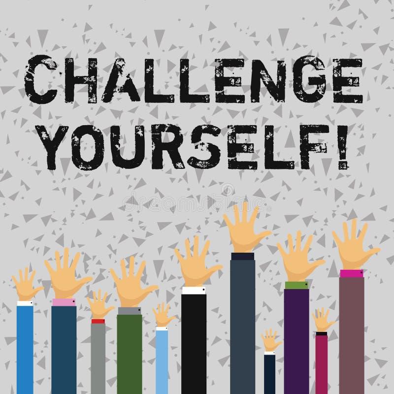 Défi des textes d'écriture de Word vous-même Concept d'affaires pour le défi fort d'amélioration d'encouragement de confiance Ove illustration de vecteur
