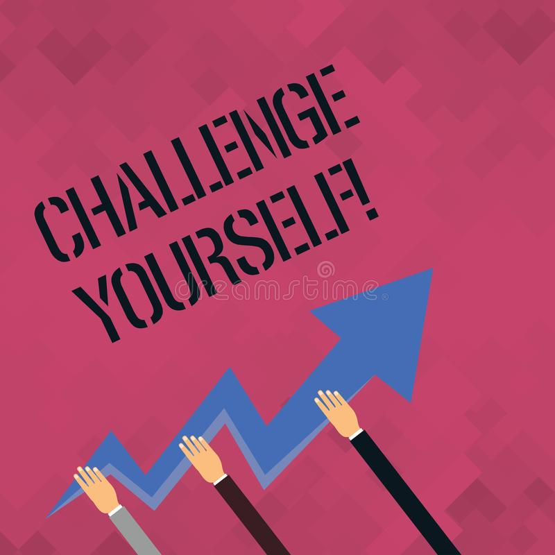 Défi des textes d'écriture de Word vous-même Concept d'affaires pour le défi fort d'amélioration d'encouragement de confiance Ove illustration stock