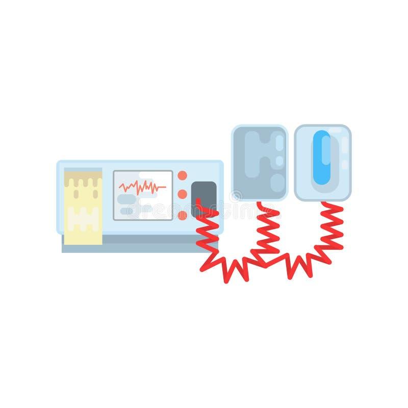 Défibrillateur externe automatisé, illustration de vecteur de matériel médical d'AED illustration stock