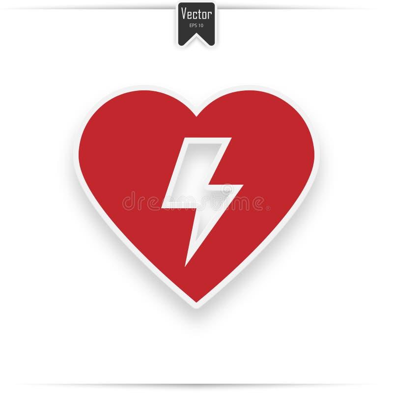 Défibrillateur externe automatisé par rouge AED illustration de vecteur