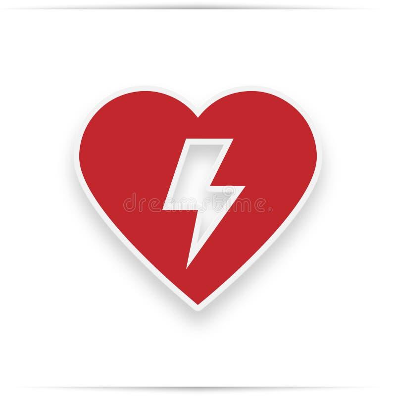 Défibrillateur externe automatisé par rouge AED illustration libre de droits