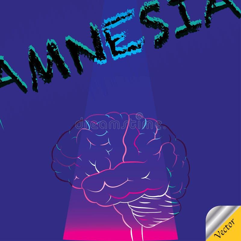 Déficit del cerebro de la amnesia en memoria stock de ilustración