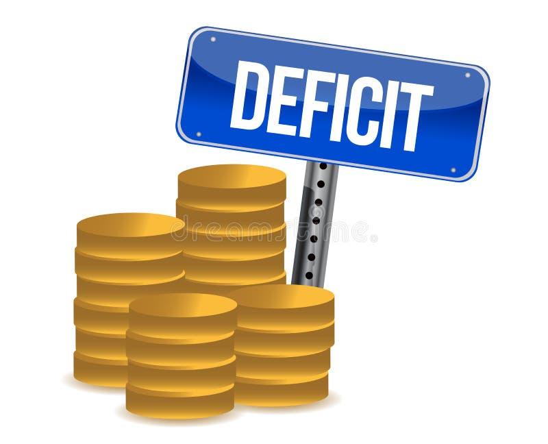 Déficit y monedas stock de ilustración
