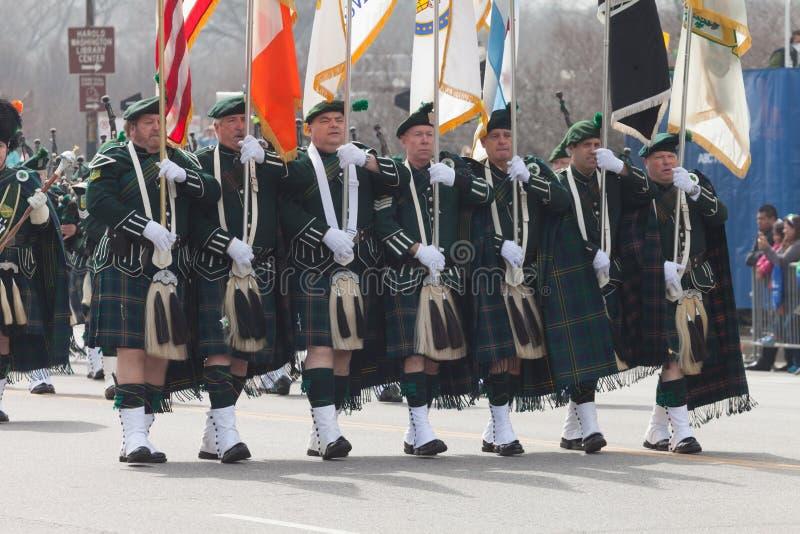 Défilé Chicago 2016 de jour du ` s de St Patrick image libre de droits