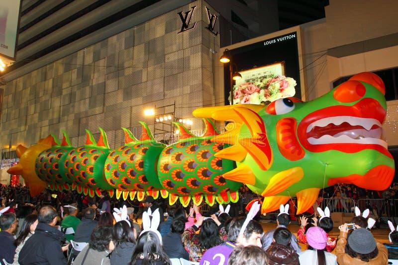 Défilé chinois 2011 de nuit d'an neuf d'Int'l photo stock