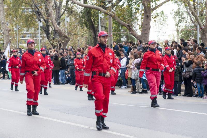 Défilé d'Ohi Day à Salonique photos stock