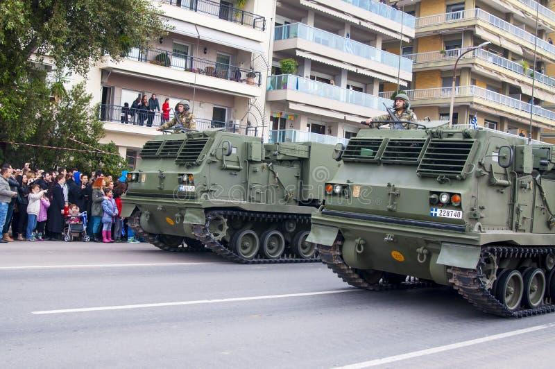 Défilé d'Ohi Day de technologie militaire à Salonique image libre de droits