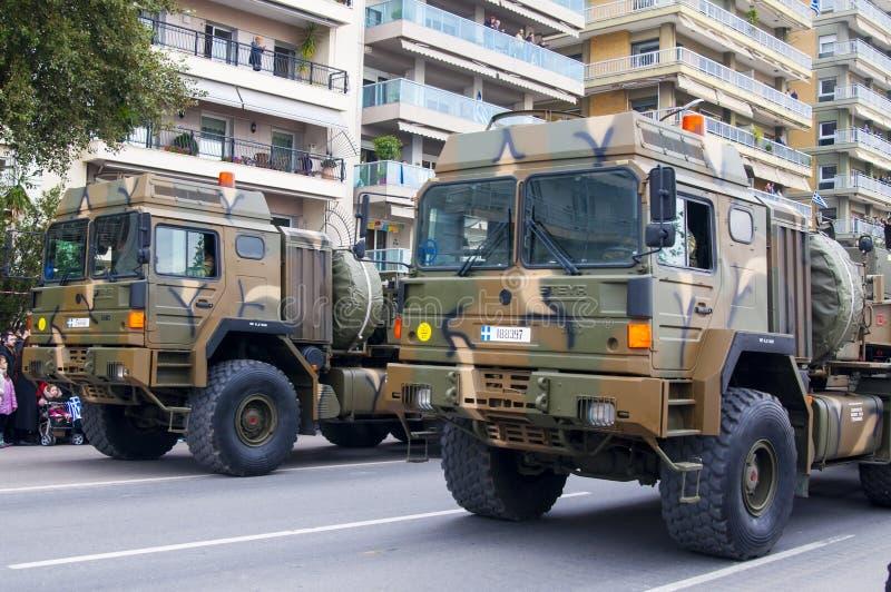 Défilé d'Ohi Day de technologie militaire à Salonique images libres de droits
