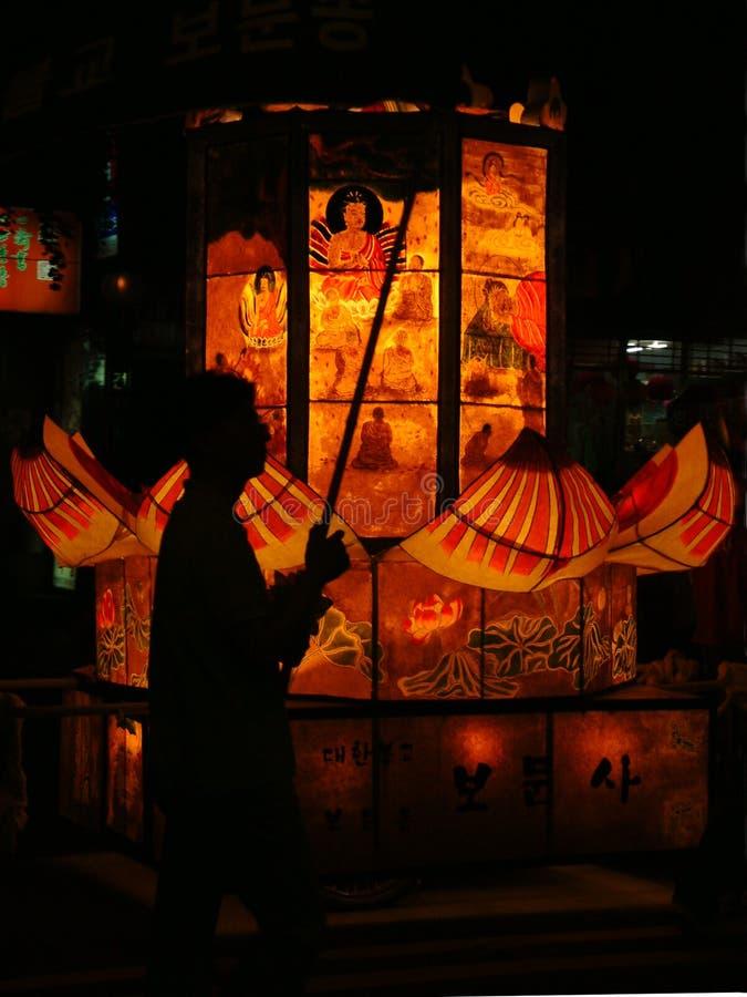 Défilé de festival de lanterne de lotus photographie stock libre de droits