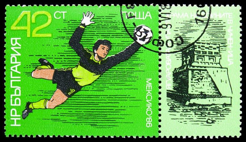 Défilé de gardien, annexes, Tiger Temple Chichen-Itza, serie du football de coupe du monde, vers 1986 image libre de droits