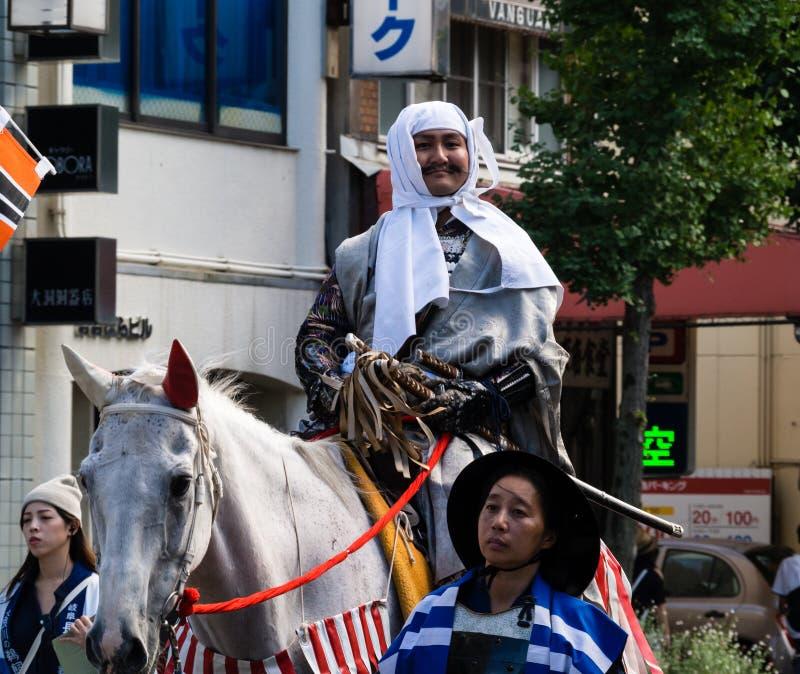 Défilé de rue pendant le festival de Nobunaga à Gifu, Japon image libre de droits
