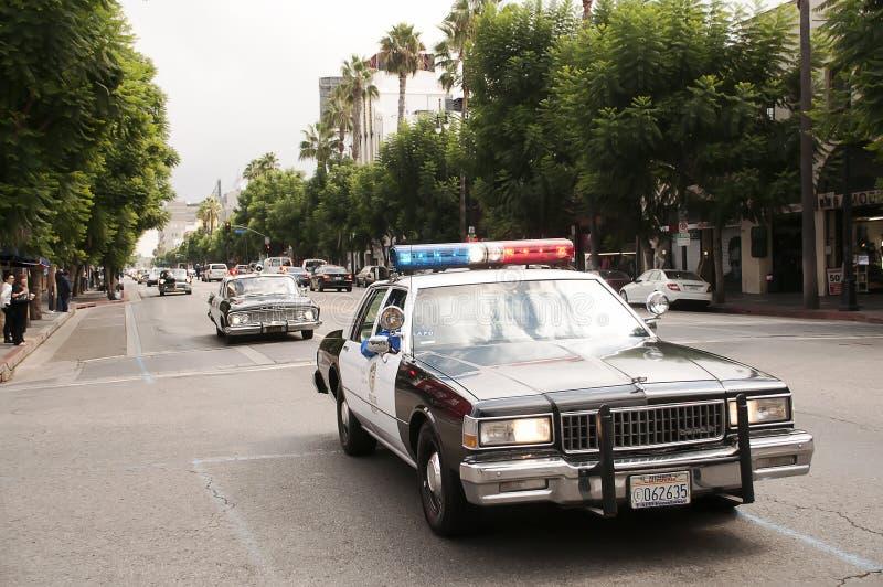 Défilé de véhicule de police de cru à Hollywood image libre de droits