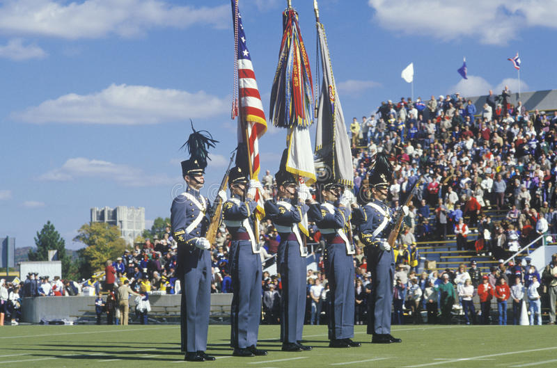 Défilé des cadets pendant les retours au pays du football d'université, West Point, NY photo libre de droits
