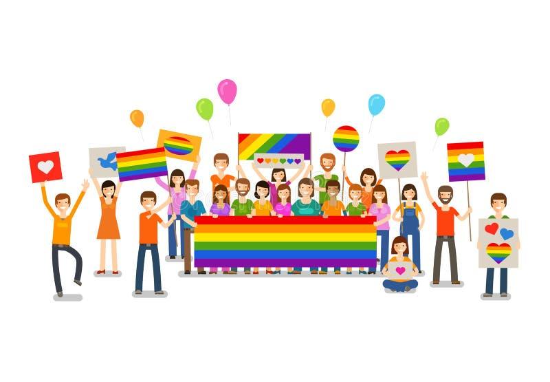 Défilé homosexuel Les gens avec des plaquettes Révolution sexuelle ou amour gratuit Vacances, célébration, illustration de vecteu illustration libre de droits