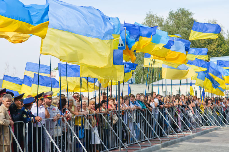 Défilé le Jour de la Déclaration d'Indépendance de l'Ukraine photographie stock