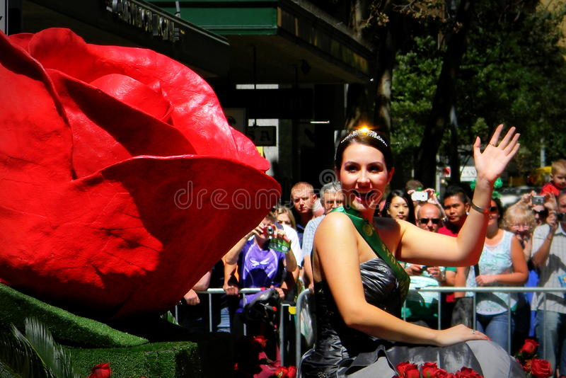 Défilé Sydney de Rose Lady In Mardi Gras photographie stock