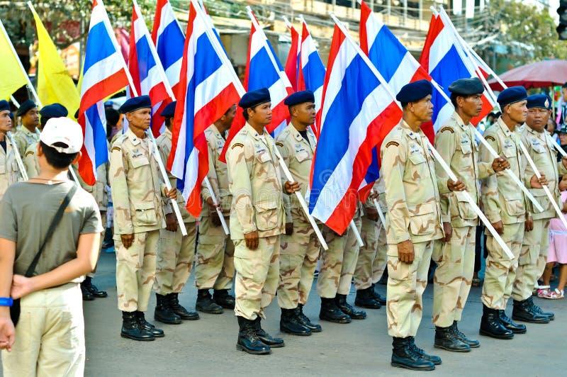 Défilé thaïlandais d'indicateur national image libre de droits