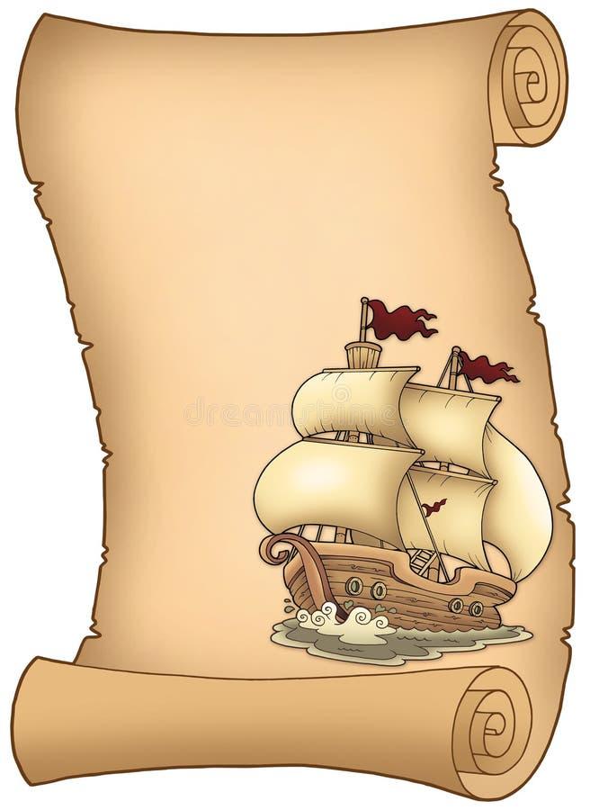 Défilement avec le vieux bateau à voiles illustration stock