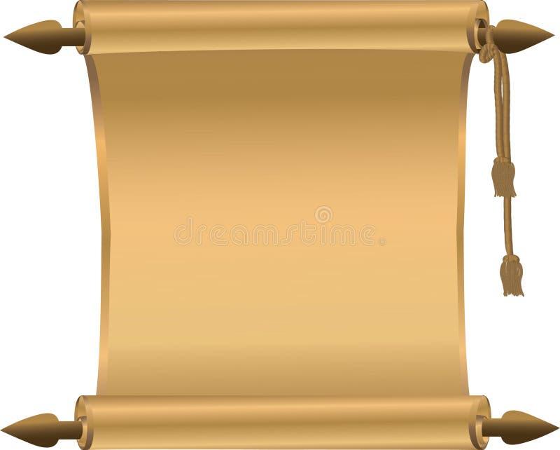 Défilement brillant jaune d'or illustration stock