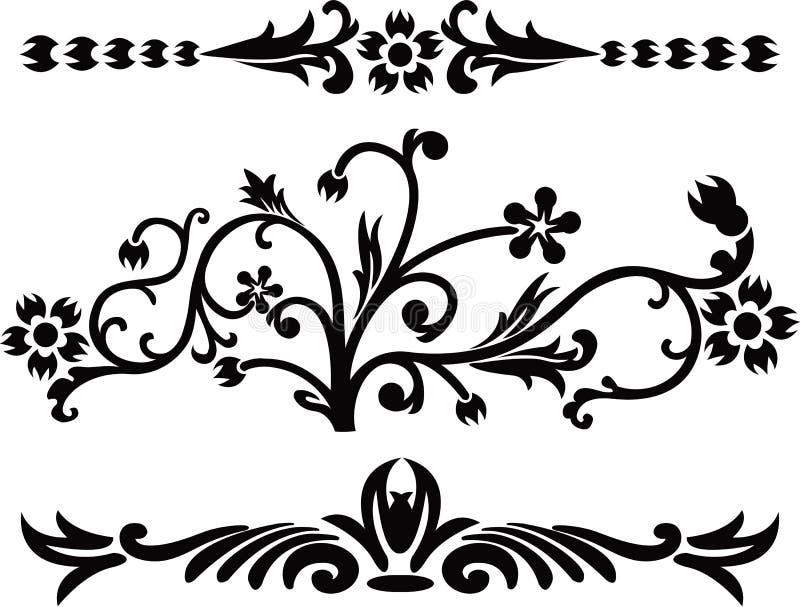 Défilement, cartouche, décor, vecteur illustration de vecteur