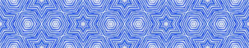 Défilement de la bordure bleue Aquarelle géométrique images libres de droits