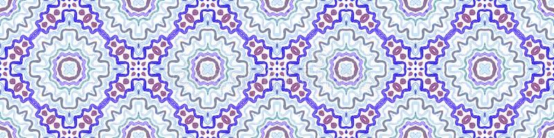 Défilement de la bordure bleue Aquarelle géométrique images stock