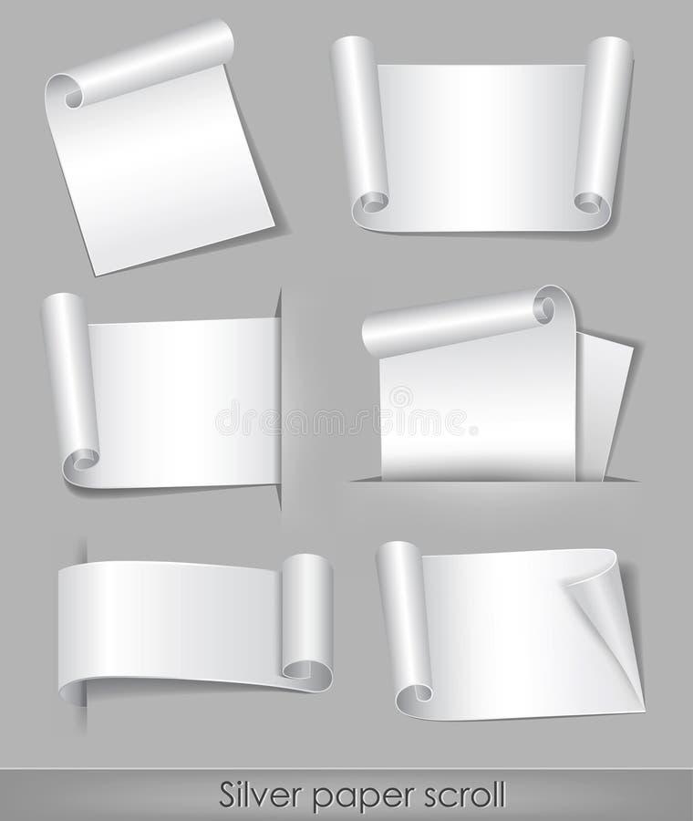 Défilement de papier argenté illustration de vecteur