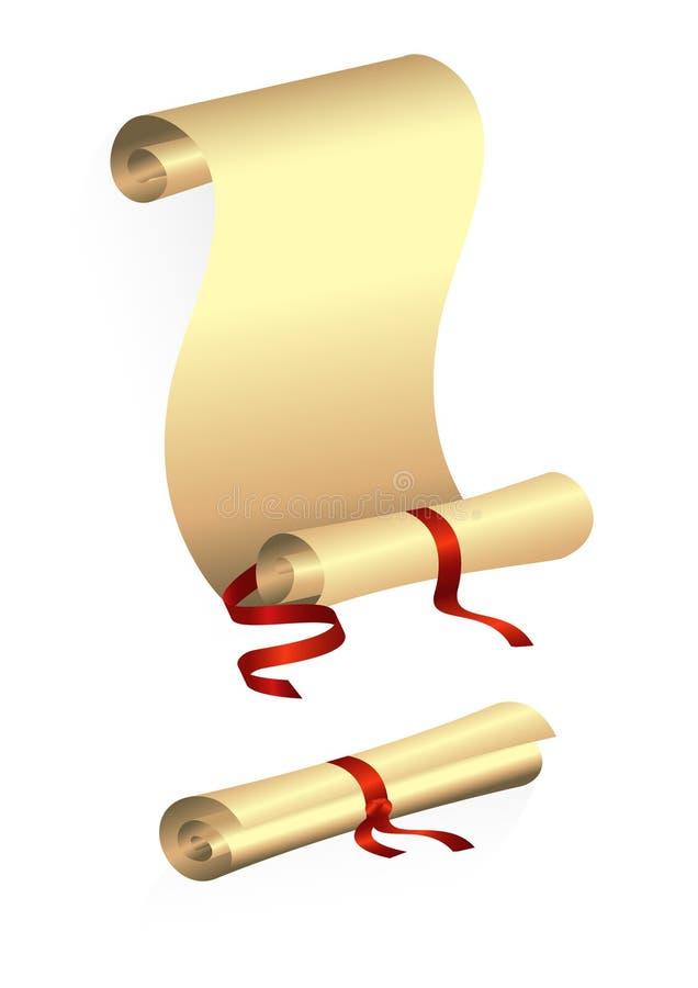 Défilement de papier avec la bande rouge illustration de vecteur