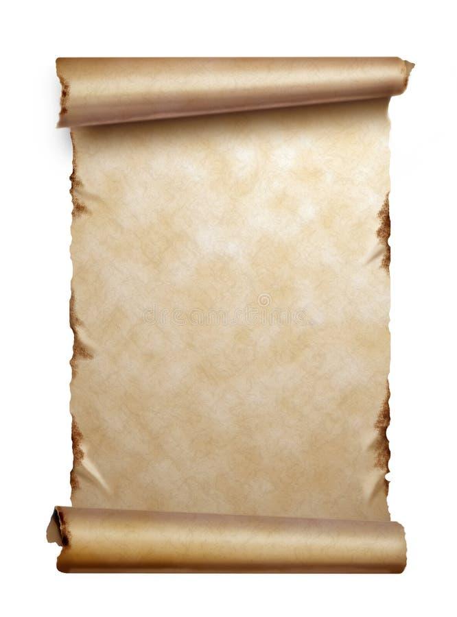 Défilement de vieux papier avec les bords enroulés d'isolement photos libres de droits