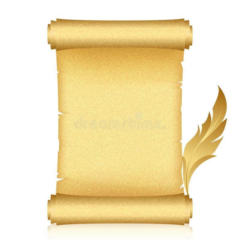 Défilement et clavette d'or illustration de vecteur