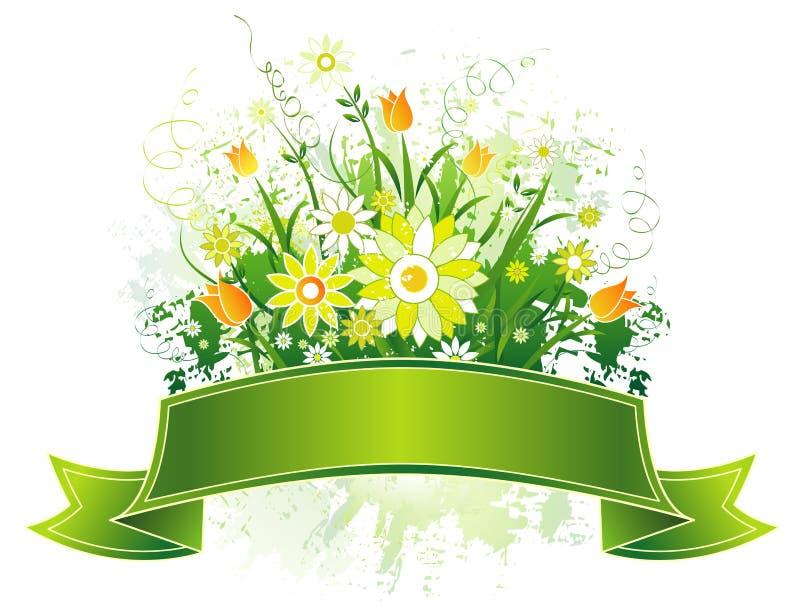 Défilement et fleurs, vecteur illustration de vecteur