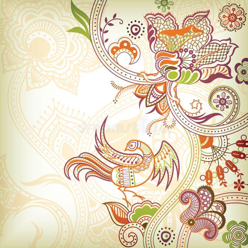 Défilement et quetzal floraux illustration stock