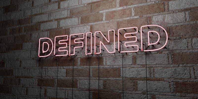 DÉFINI - Enseigne au néon rougeoyant sur le mur de maçonnerie - 3D a rendu l'illustration courante gratuite de redevance illustration stock