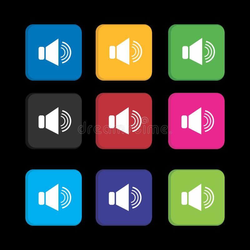 Définir l'icône haut-parleur coloré pour l'application de smartphone et l'icône Web illustration libre de droits